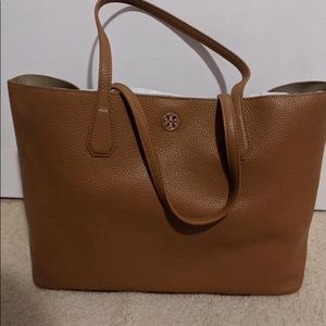 Tory Burch Perry Leather Tote Bag, Bark/Light Gold